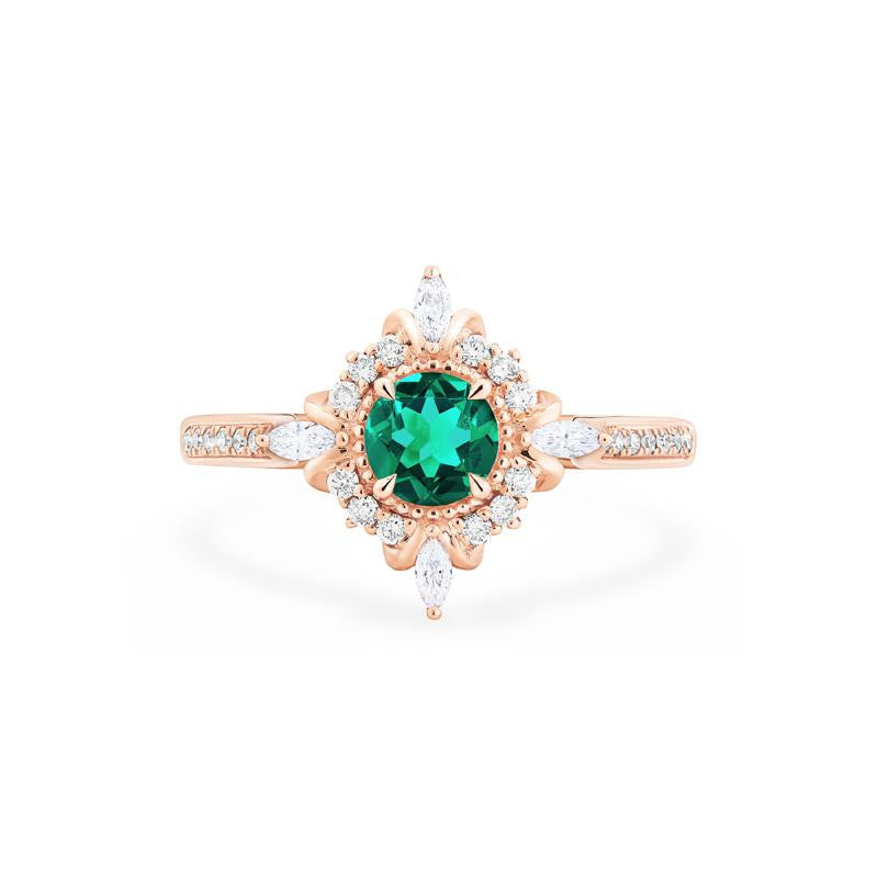 [Astrid] Art Deco Petite Ring in Lab Emerald - Women's Ring - Michellia Fine Jewelry