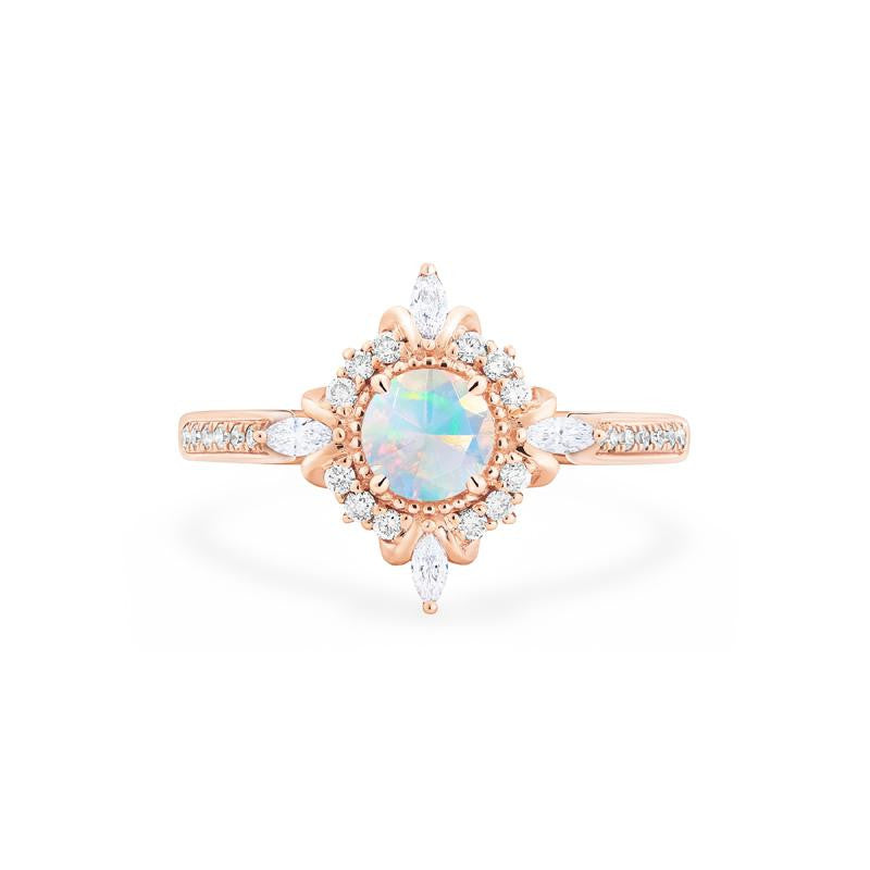 [Astrid] Ready-to-Ship Art Deco Petite Ring in Opal - Women's Ring - Michellia Fine Jewelry