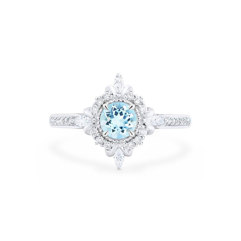 [Astrid] Ready-to-Ship Art Deco Petite Ring in Aquamarine - Women's Ring - Michellia Fine Jewelry