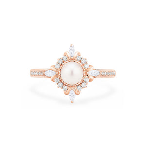[Astrid] Art Deco Petite Ring in Akoya Pearl - Women's Ring - Michellia Fine Jewelry