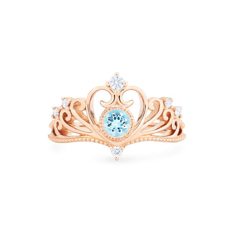 [Ingrid] Swan Lovers Tiara Ring in Aquamarine - Women's Ring - Michellia Fine Jewelry