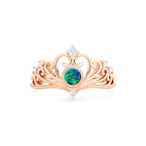 [Ingrid] Heirloom Tiara Ring in Australian Boulder Opal - Michellia Fine Jewelry