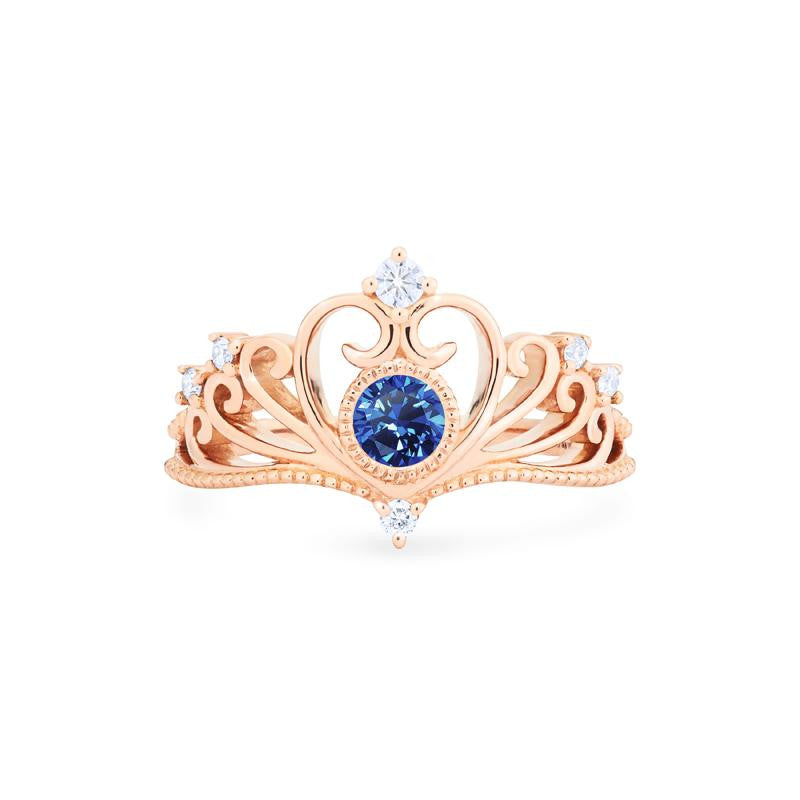 [Ingrid] Heirloom Tiara Ring in Lab Blue Sapphire - Women's Ring - Michellia Fine Jewelry