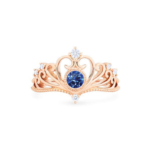 [Ingrid] Swan Lovers Tiara Ring in Lab Blue Sapphire - Women's Ring - Michellia Fine Jewelry