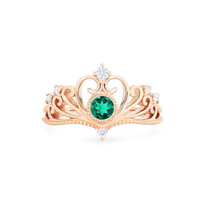 [Ingrid] Swan Lovers Tiara Ring in Lab Emerald - Women's Ring - Michellia Fine Jewelry