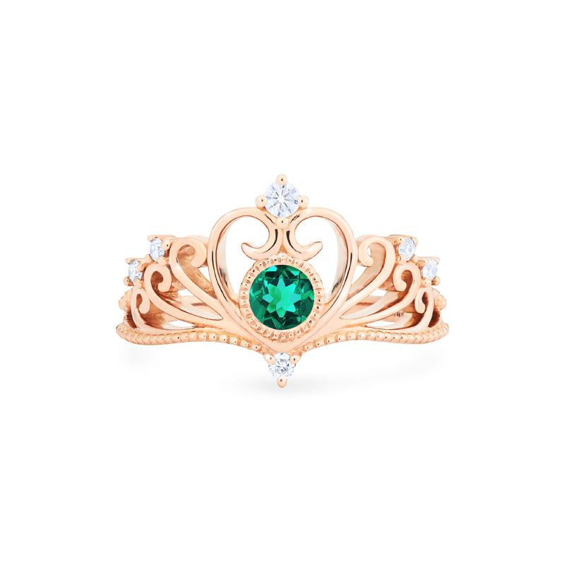[Ingrid] Ready-to-Ship Swan Lovers Tiara Ring in Lab Emerald - Women's Ring - Michellia Fine Jewelry