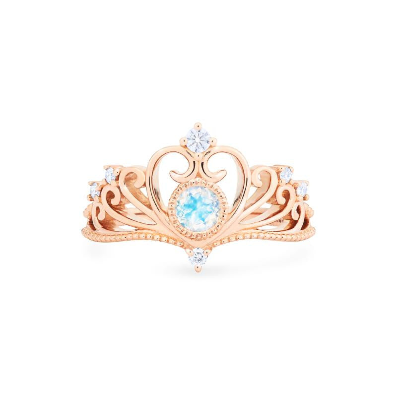 [Ingrid] Ready-to-Ship Swan Lovers Tiara Ring in Moonstone - Women's Ring - Michellia Fine Jewelry