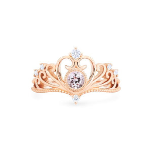 [Ingrid] Ready-to-Ship Swan Lovers Tiara Ring in Morganite - Women's Ring - Michellia Fine Jewelry