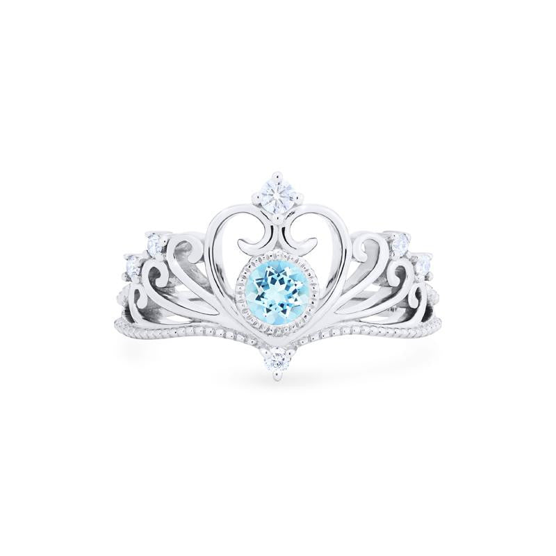 [Ingrid] Ready-to-Ship Swan Lovers Tiara Ring in Aquamarine - Women's Ring - Michellia Fine Jewelry