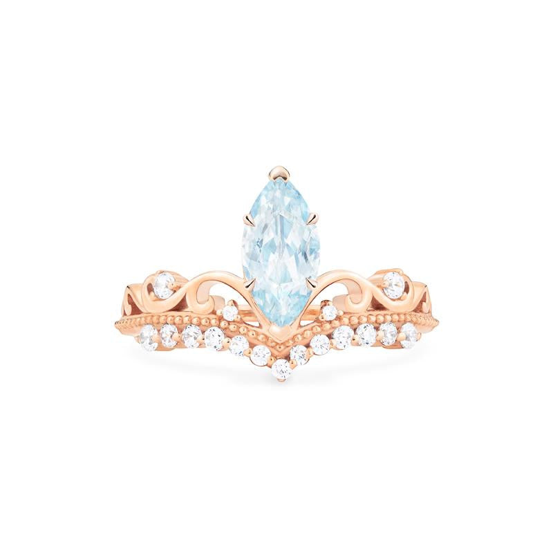 [Windsor] Heirloom Crown Marquise Cut Ring in Aquamarine - Women's Ring - Michellia Fine Jewelry
