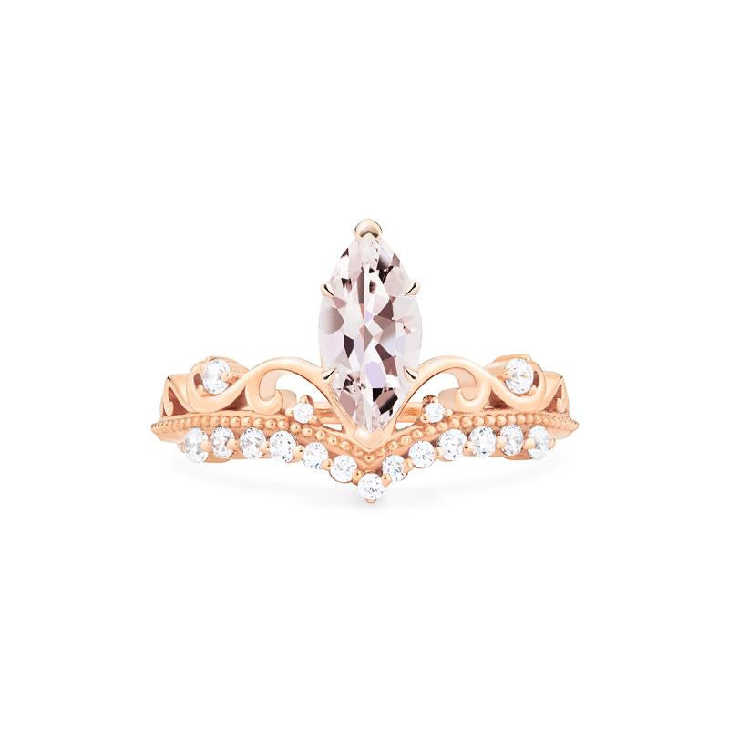 [Windsor] Heirloom Crown Marquise Cut Ring in Morganite - Women's Ring - Michellia Fine Jewelry