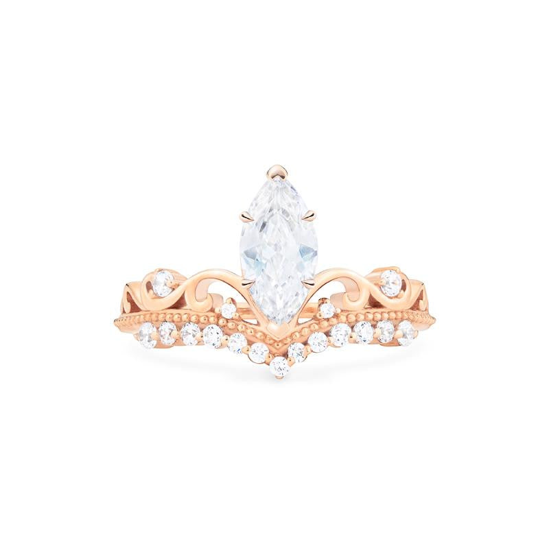 [Windsor] Ready-to-Ship Heirloom Crown Marquise Cut Ring in Moissanite - Women's Ring - Michellia Fine Jewelry