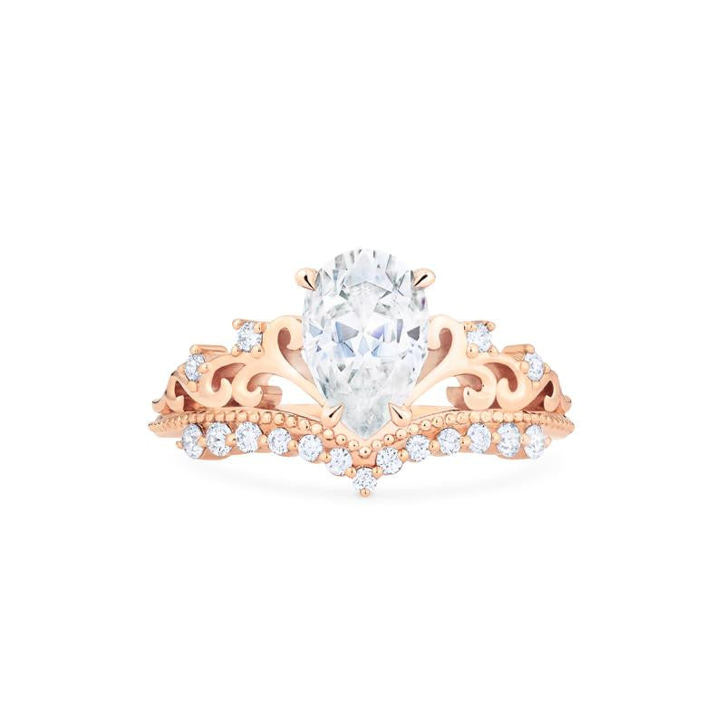 [Francesca] Ready-to-Ship Heirloom Crown Pear Cut Ring in Moissanite - Women's Ring - Michellia Fine Jewelry