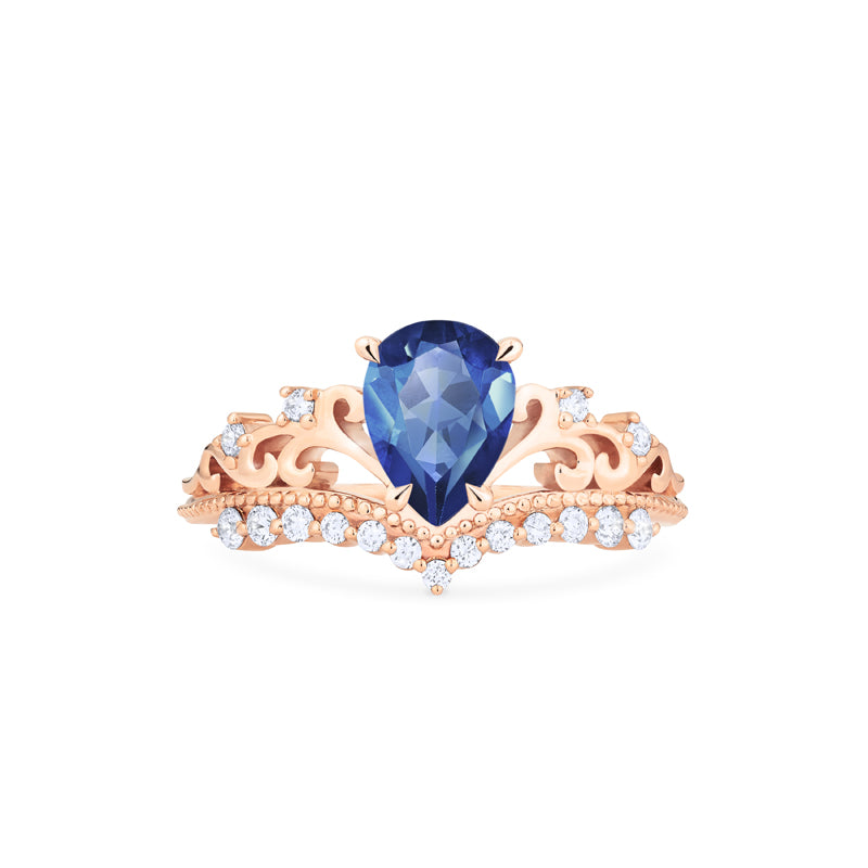 [Francesca] Heirloom Crown Pear Cut Ring in Lab Blue Sapphire - Women's Ring - Michellia Fine Jewelry