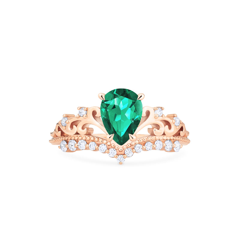 [Francesca] Heirloom Crown Pear Cut Ring in Lab Emerald - Women's Ring - Michellia Fine Jewelry