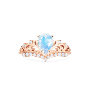 [Francesca] Ready-to-Ship Heirloom Crown Pear Cut Ring in Moonstone - Women's Ring - Michellia Fine Jewelry