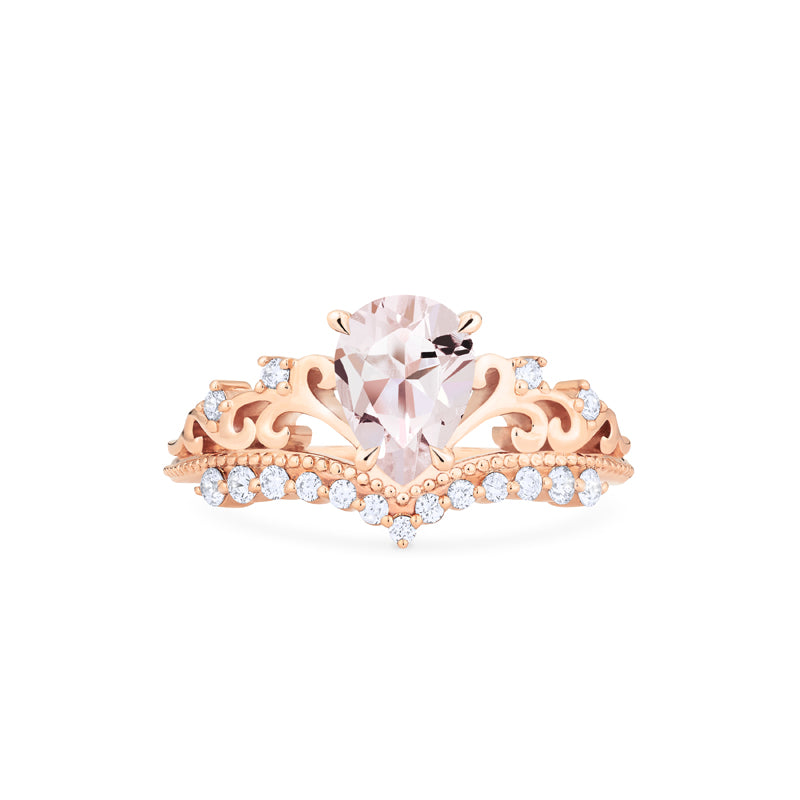 [Francesca] Ready-to-Ship Heirloom Crown Pear Cut Ring in Morganite - Women's Ring - Michellia Fine Jewelry