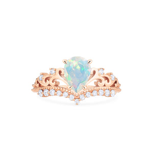 [Francesca] Heirloom Crown Pear Cut Ring in Opal - Women's Ring - Michellia Fine Jewelry