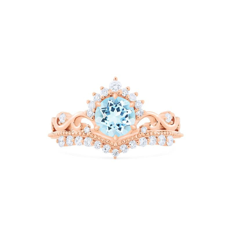 [Theia] Ready-to-Ship Heirloom Crown Ring in Aquamarine - Michellia Fine Jewelry