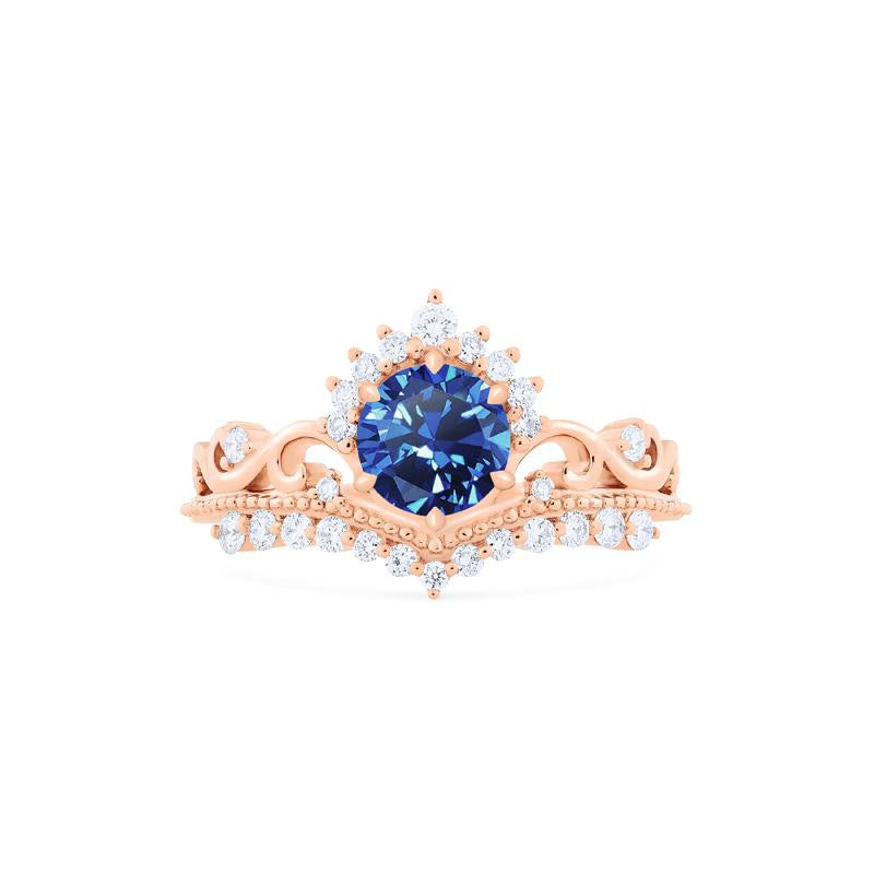 [Theia] Heirloom Crown Ring in Lab Blue Sapphire - Women's Ring - Michellia Fine Jewelry