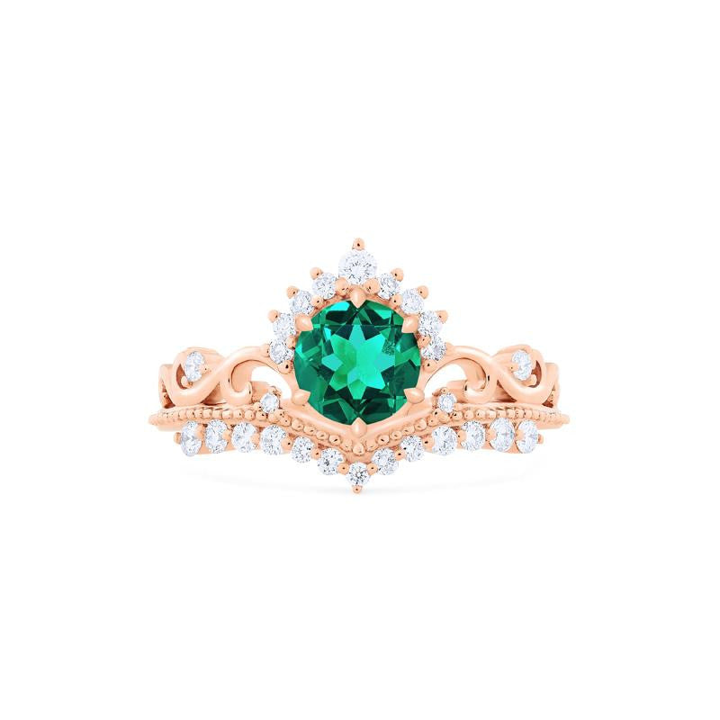 [Theia] Heirloom Crown Ring in Lab Emerald - Michellia Fine Jewelry