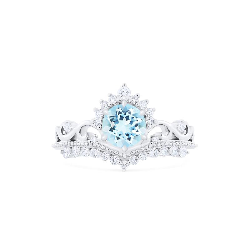 [Theia] Ready-to-Ship Heirloom Crown Ring in Aquamarine - Women's Ring - Michellia Fine Jewelry
