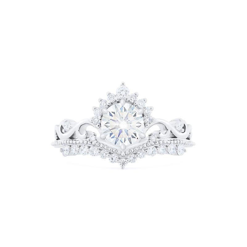 [Theia] Ready-to-Ship Heirloom Crown Ring in Moissanite - Women's Ring - Michellia Fine Jewelry