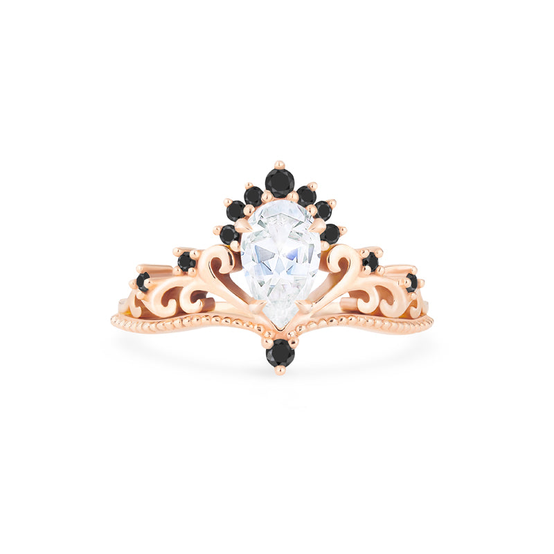 [Reinette] Ready-to-Ship Empress Crown Pear Cut Ring in Moissanite and Black Diamonds - Women's Ring - Michellia Fine Jewelry