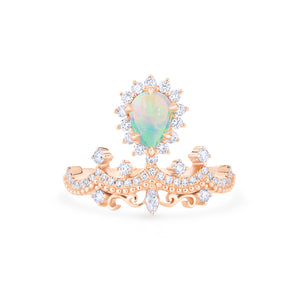 [Angelique] Guardian Angel Chandelier Ring in Australian Opal - Women's Ring - Michellia Fine Jewelry
