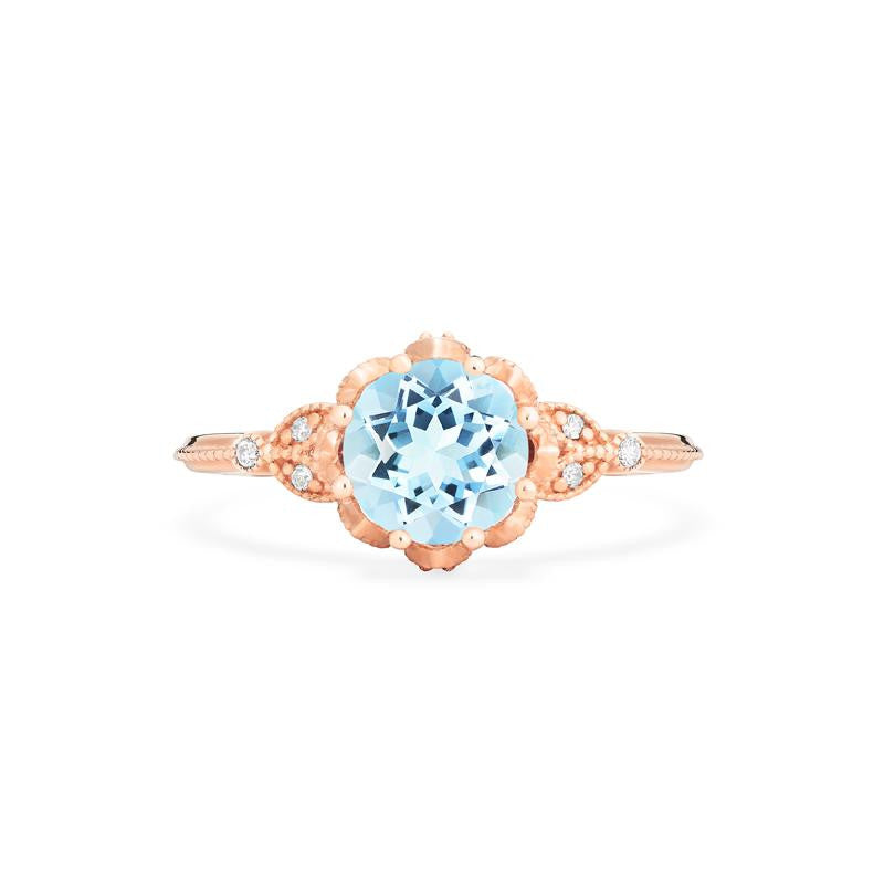 [Evanthe] Vintage Floral Ring in Aquamarine - Women's Ring - Michellia Fine Jewelry