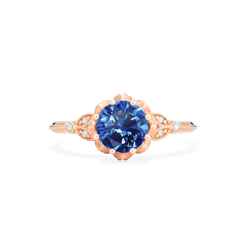 [Evanthe] Vintage Floral Ring in Lab Blue Sapphire - Michellia Fine Jewelry