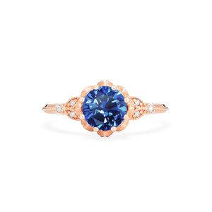 [Evanthe] Vintage Floral Ring in Lab Blue Sapphire - Women's Ring - Michellia Fine Jewelry