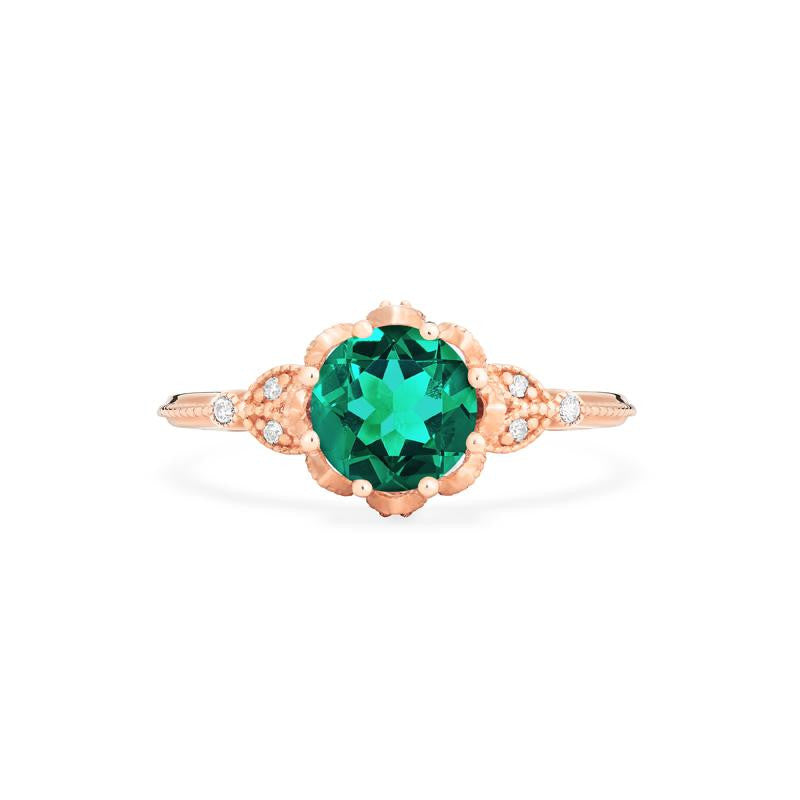 [Evanthe] Vintage Floral Ring in Lab Emerald - Michellia Fine Jewelry
