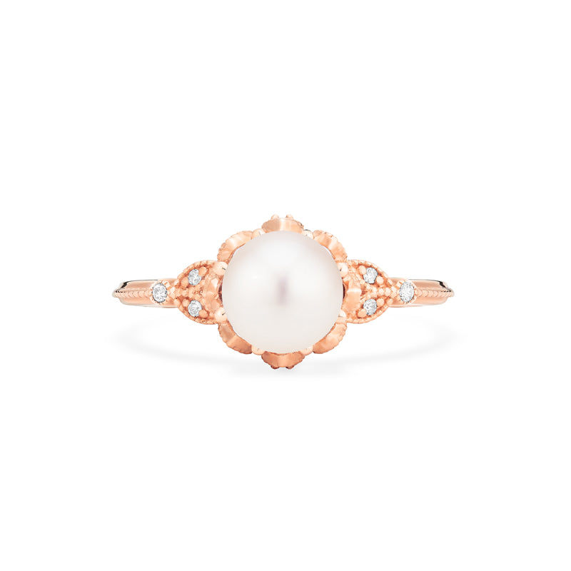 [Evanthe] Vintage Floral Ring in Akoya Pearl - Women's Ring - Michellia Fine Jewelry
