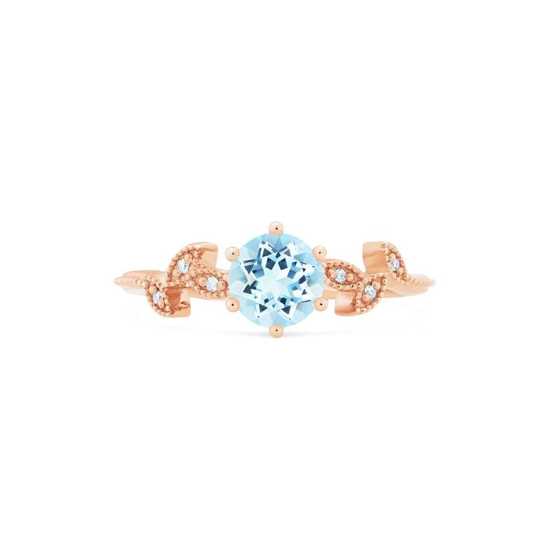 [Dahlia] Petite Floral Ring in Aquamarine - Women's Ring - Michellia Fine Jewelry