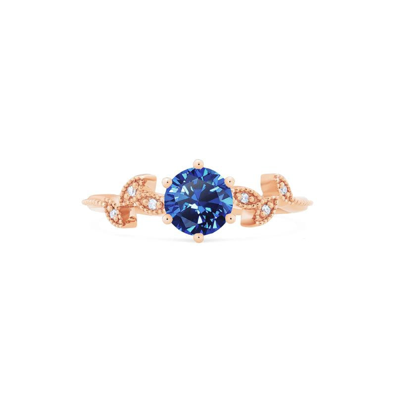 [Dahlia] Petite Floral Ring in Lab Blue Sapphire - Michellia Fine Jewelry