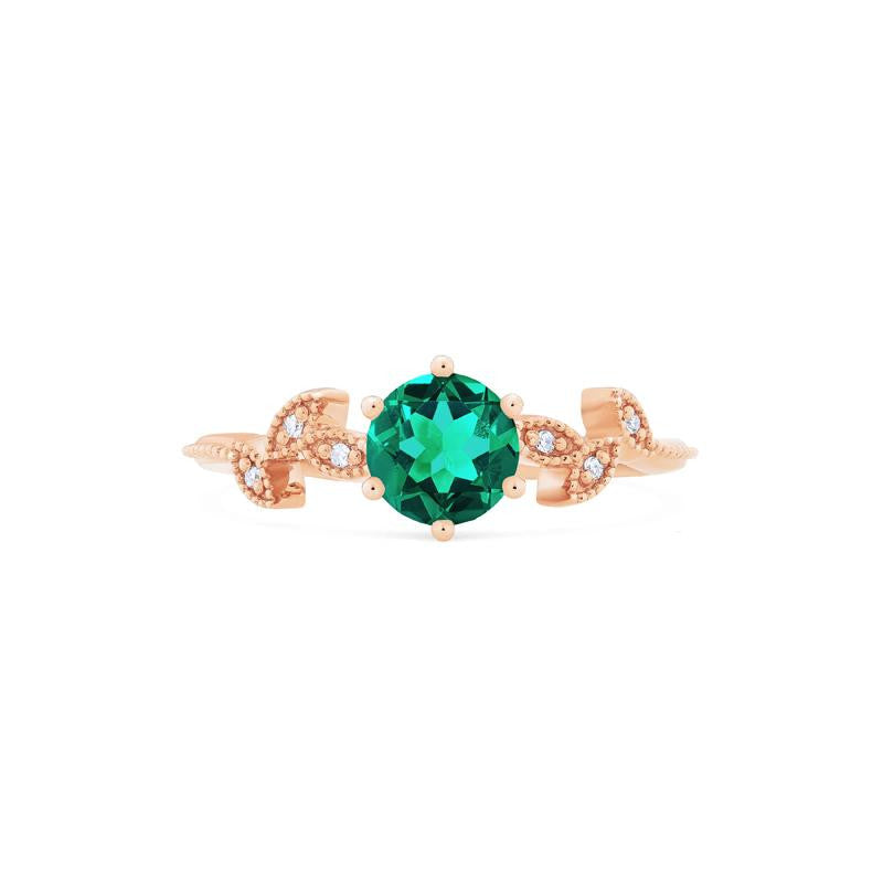 [Dahlia] Ready-to-Ship Petite Floral Ring in Lab Emerald - Women's Ring - Michellia Fine Jewelry