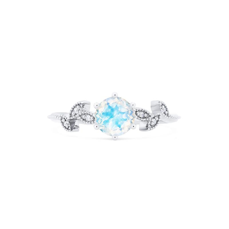 [Dahlia] Ready-to-Ship Petite Floral Ring in Moonstone - Women's Ring - Michellia Fine Jewelry