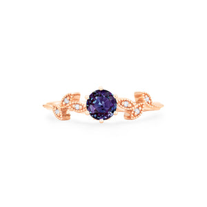 [Dahlia] Petite Floral Ring in Lab Alexandrite - Women's Ring - Michellia Fine Jewelry