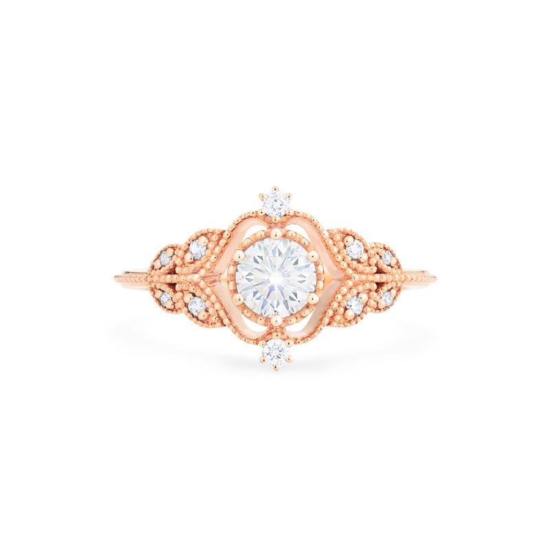 [Adeline] Vintage Rose Ring in Moissanite - Michellia Fine Jewelry