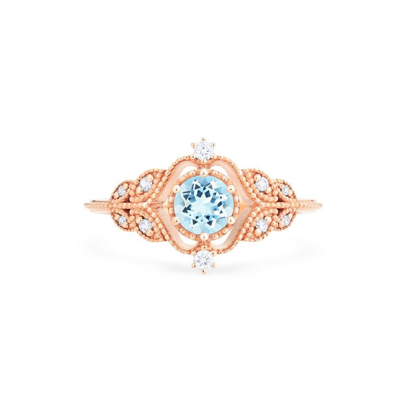 [Adeline] Vintage Rose Ring in Aquamarine - Michellia Fine Jewelry