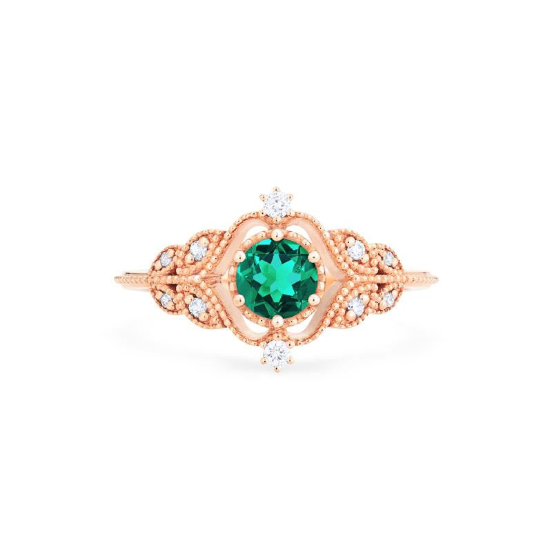[Adeline] Vintage Rose Ring in Lab Emerald - Women's Ring - Michellia Fine Jewelry