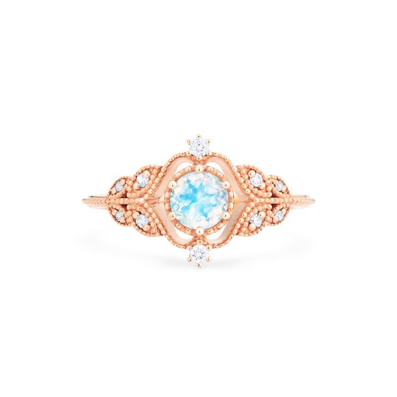 [Adeline] Vintage Rose Ring in Moonstone - Women's Ring - Michellia Fine Jewelry