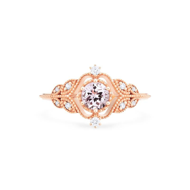 [Adeline] Vintage Rose Ring in Morganite - Women's Ring - Michellia Fine Jewelry
