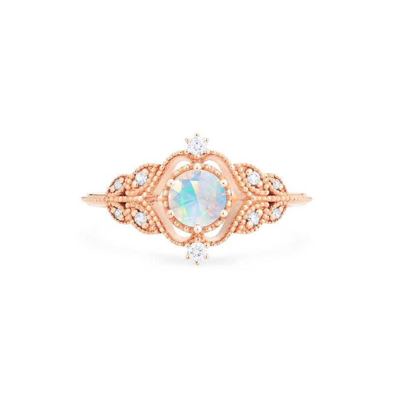 [Adeline] Vintage Rose Ring in Opal