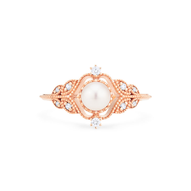[Adeline] Vintage Rose Ring in Akoya Pearl - Women's Ring - Michellia Fine Jewelry