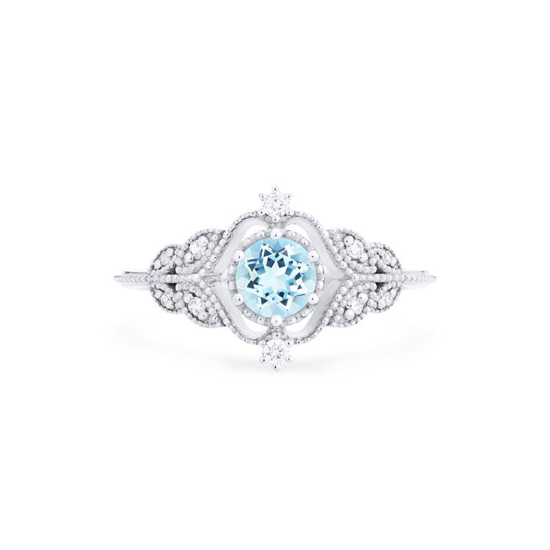 [Adeline] Ready-to-Ship Vintage Rose Ring in Aquamarine - Women's Ring - Michellia Fine Jewelry