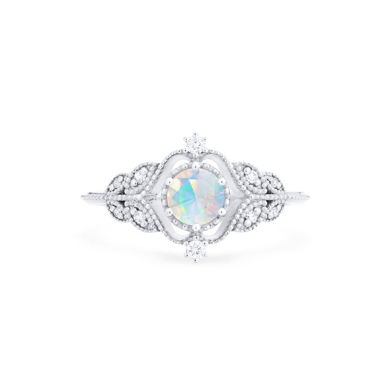 [Adeline] Ready-to-Ship Vintage Rose Ring in Opal - Women's Ring - Michellia Fine Jewelry