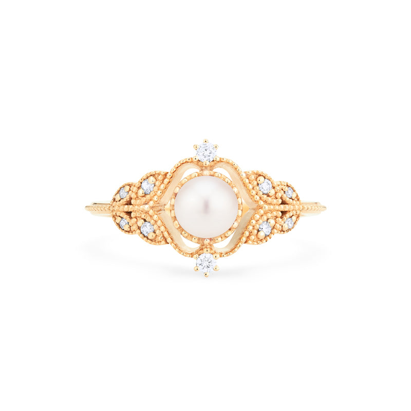 [Adeline] Ready-to-Ship Vintage Rose Ring in Akoya Pearl - Women's Ring - Michellia Fine Jewelry