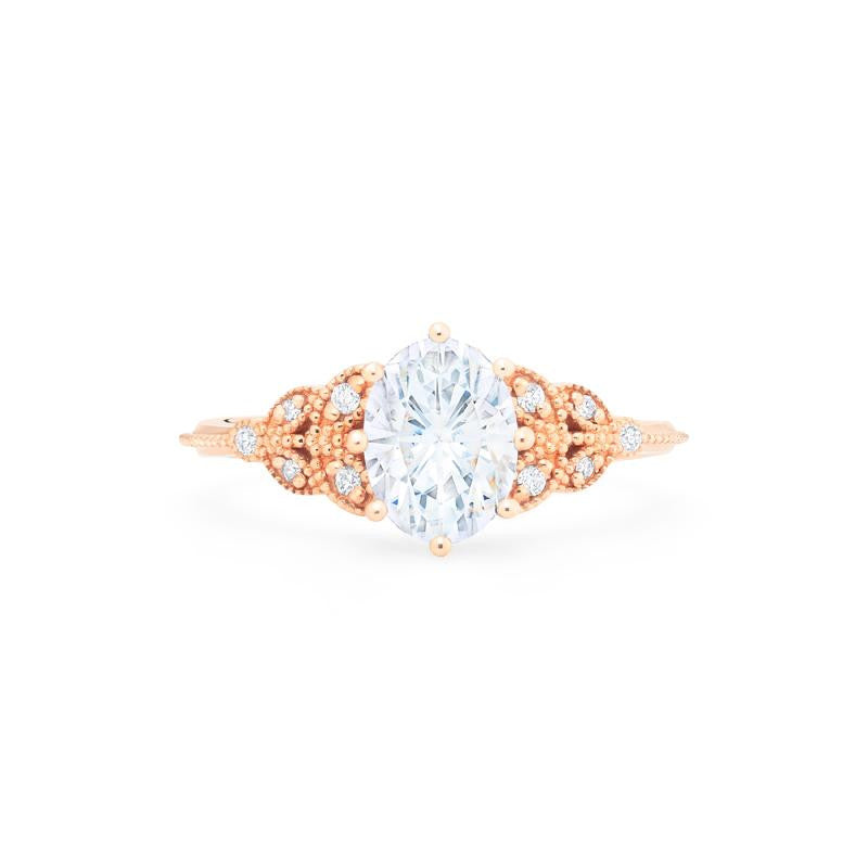 [Olivia] Classic Floral Oval Cut Ring in Moissanite - Michellia Fine Jewelry